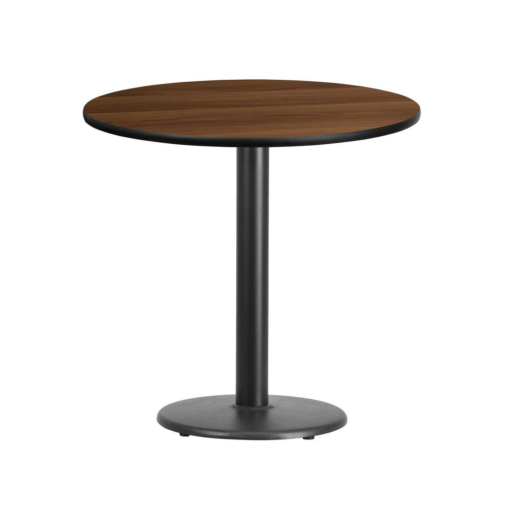 Round Walnut Laminate Table Top With 18 In. Round Table Height  Base XURD30WATR18   The Home Depot