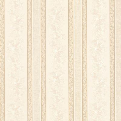 Trish Cream Satin Floral Scroll Stripe Wallpaper Sample