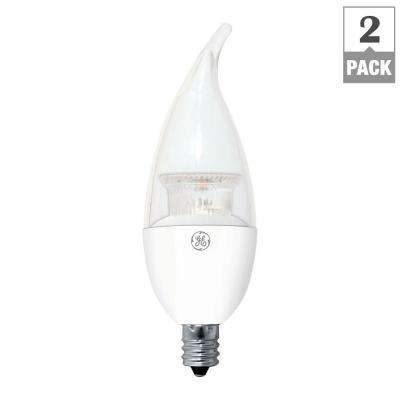 40W Equivalent Soft White CA11 Clear Bent Tip Candelabra Base Dimmable LED Light Bulb (2-Pack)