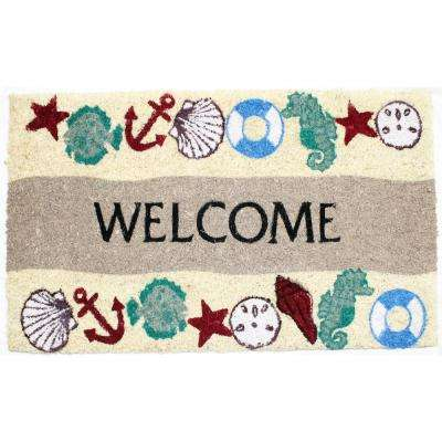 Seaside Welcome Vinyl Back Coco Door Mat