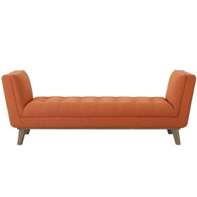 Haven Orange Tufted Button Upholstered Fabric Accent Bench