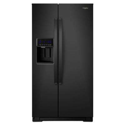 36 in. W 21 cu. ft. Side By Side Refrigerator in Black, Counter Depth