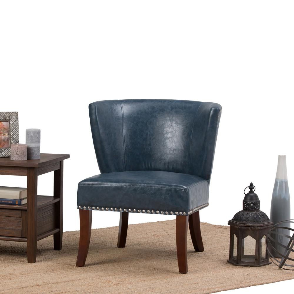 Simpli Home Jamestown Denim Blue Bonded Leather Accent Chair