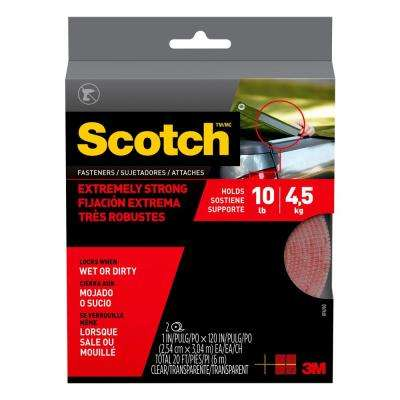 Scotch 1 in. x 10 ft. Clear Extreme Fasteners (1-Pack)