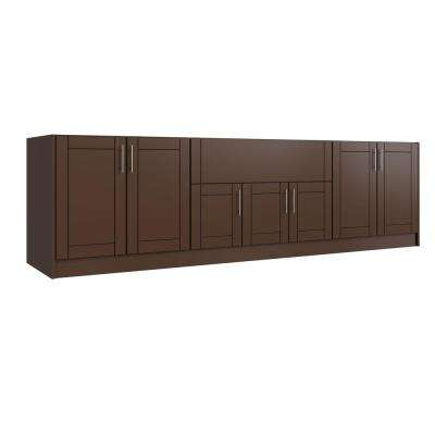 Tampa Dock Brown 17-Piece 120 in. x 34.5 in. x 27 in. Outdoor Kitchen Cabinet Set