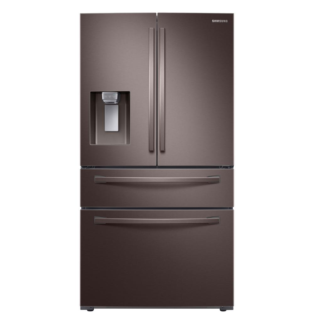 Samsung 23 cu  ft  4-Door French Door Refrigerator in Fingerprint Resistant  Tuscan Stainless, Counter Depth