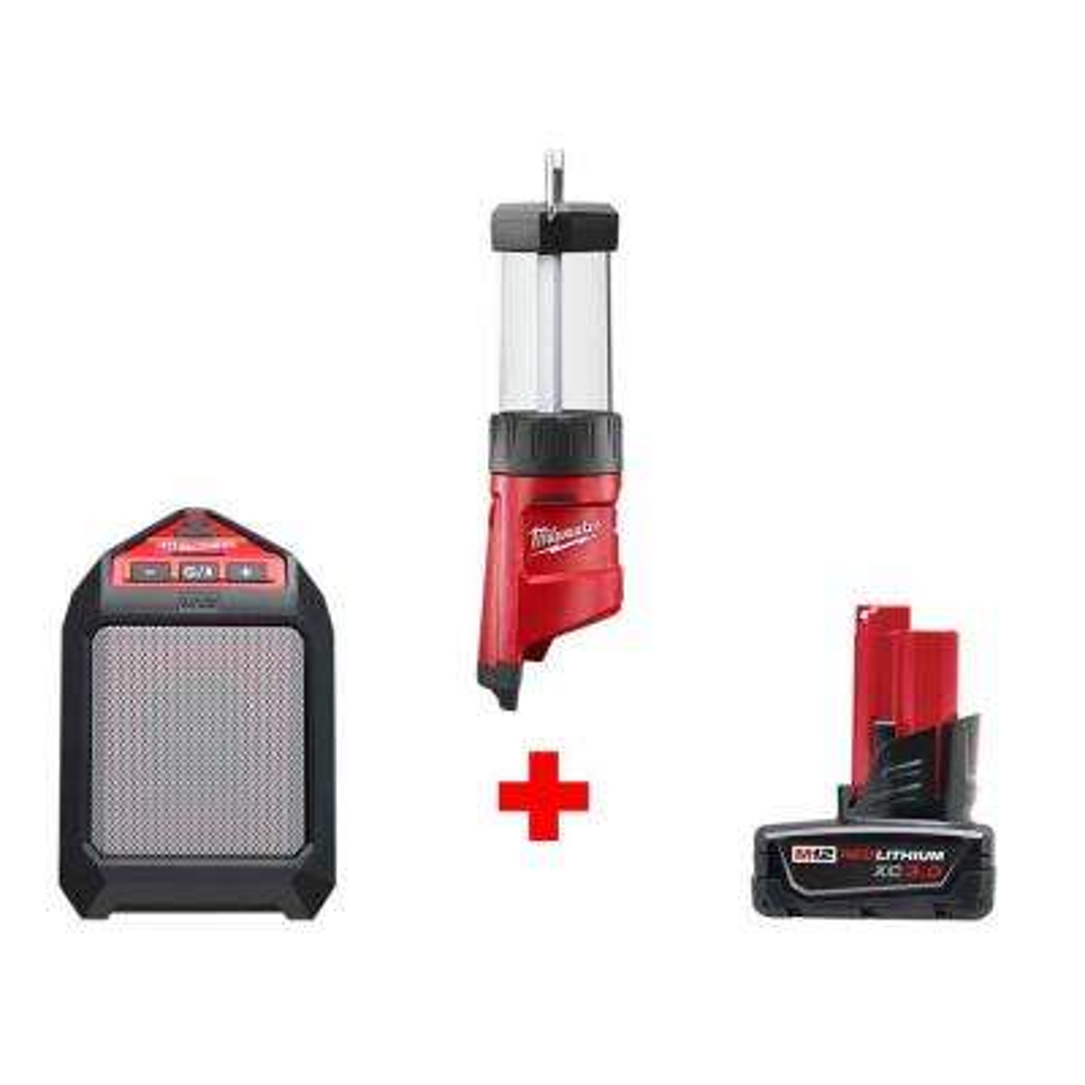 M12 12-Volt Lithium-Ion Cordless 400-Lumen LED Lantern/Flood Light with M12 Jobsite Speaker and 3.0 Ah Battery
