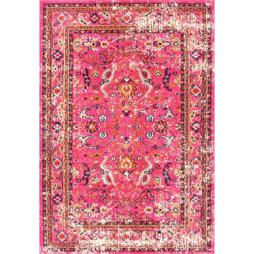 NuLOOM Distressed Floral Anabel Pink 3 Ft. X 5 Ft. Area