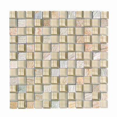 Gold Mosaic 1 in. x 1 in. Blend Glass and Stone Mesh Mounted Decorative Bathroom Wall and Floor Tile (0.98 Sq. ft.)
