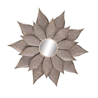 Large Round Taupe Novelty Mirror (51 in. H x 55 in. W)