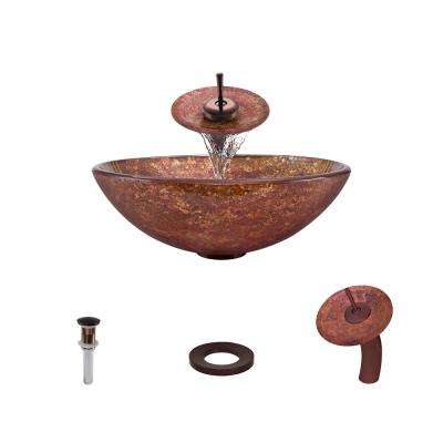 Glass Vessel Sink in Multi-Color Foil Undertone with Waterfall Faucet and Pop-Up Drain in Oil Rubbed Bronze