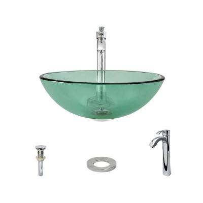 Glass Vessel Sink in Emerald with 726 Faucet and Pop-Up Drain in Chrome