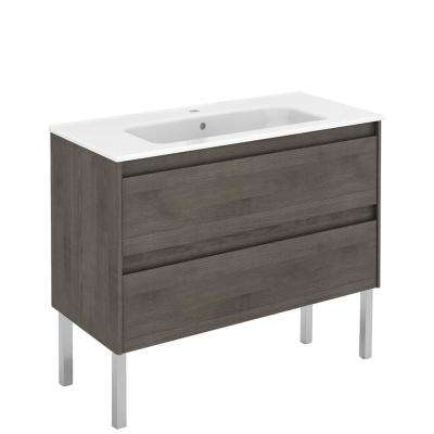 39.8 in. W x 18.1 in. D x 32.9 in. H Bathroom Vanity Unit in Samara Ash with Vanity Top and Basin in White