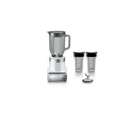 PureMix 56 oz. 3-Speed White Stainless Steel Countertop Blender with Glass Jar and Smoothie2Go Blending Cups