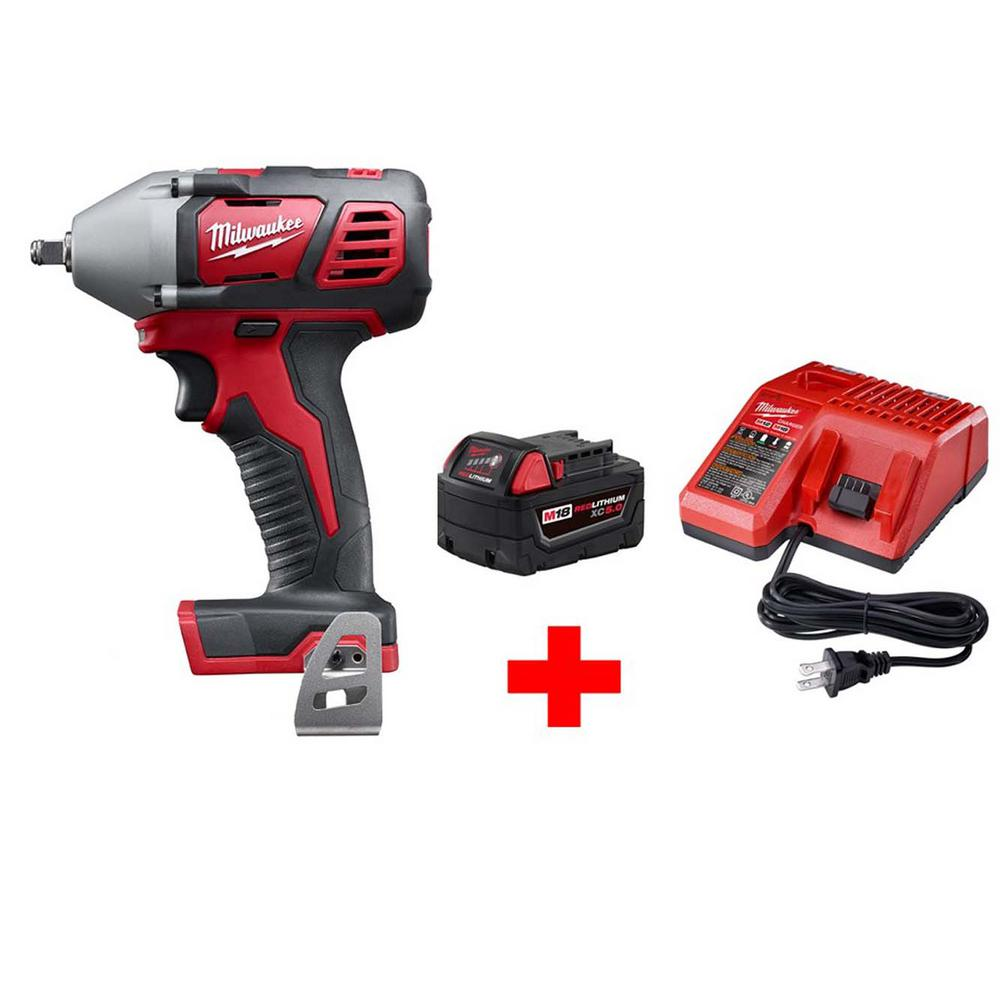 Milwaukee M18 18-Volt Lithium-Ion Cordless 3/8 in. Impact Wrench W/ Friction Ring W/ M18 Starter Kit (1) 5.0Ah Battery & Charger