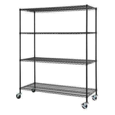 60 in. W x 24 in. D x 77 in. H NSF Multi-Purpose 4-Tier Black Wire Shelving Unit with Casters
