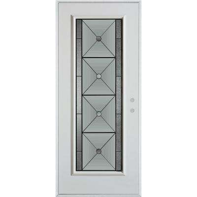 36 in. x 80 in. Bellochio Patina Full Lite Painted White Left-Hand Inswing Steel Prehung Front Door