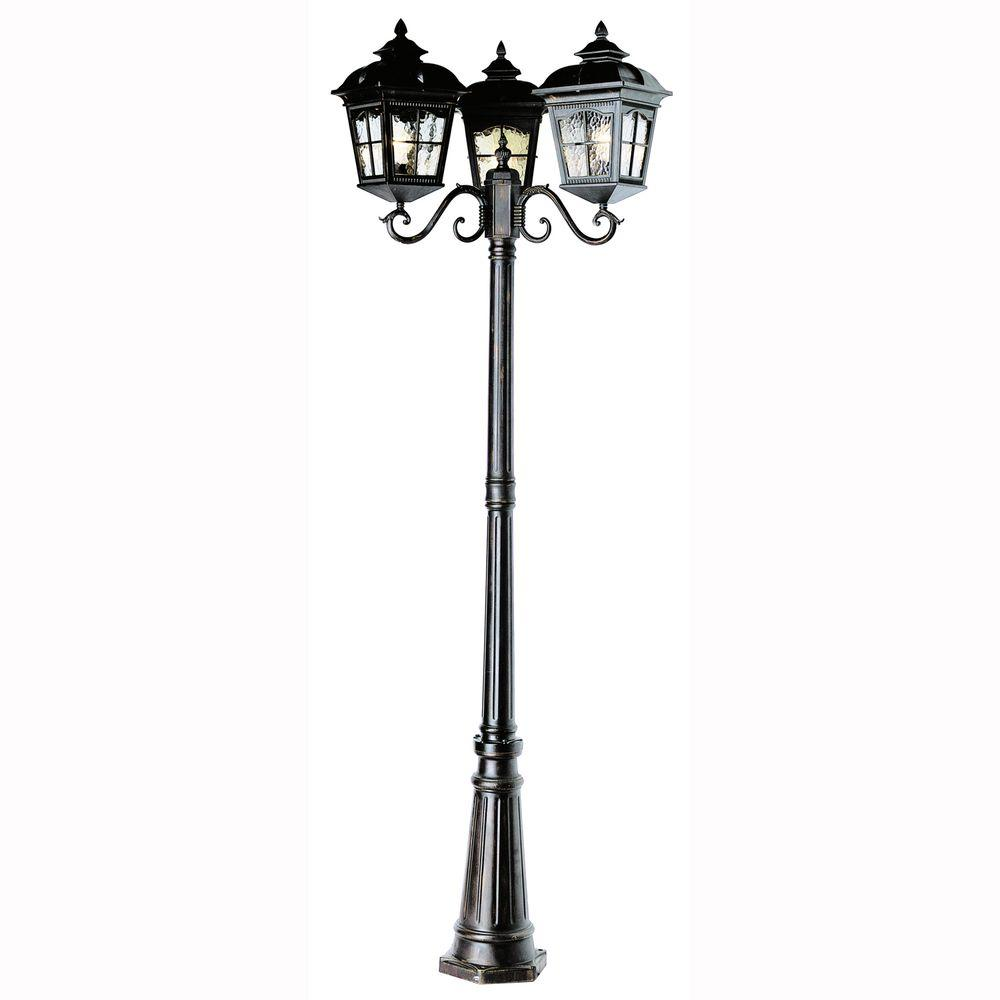 Bostonian 3-Light Outdoor Black Post Lantern with Water Glass