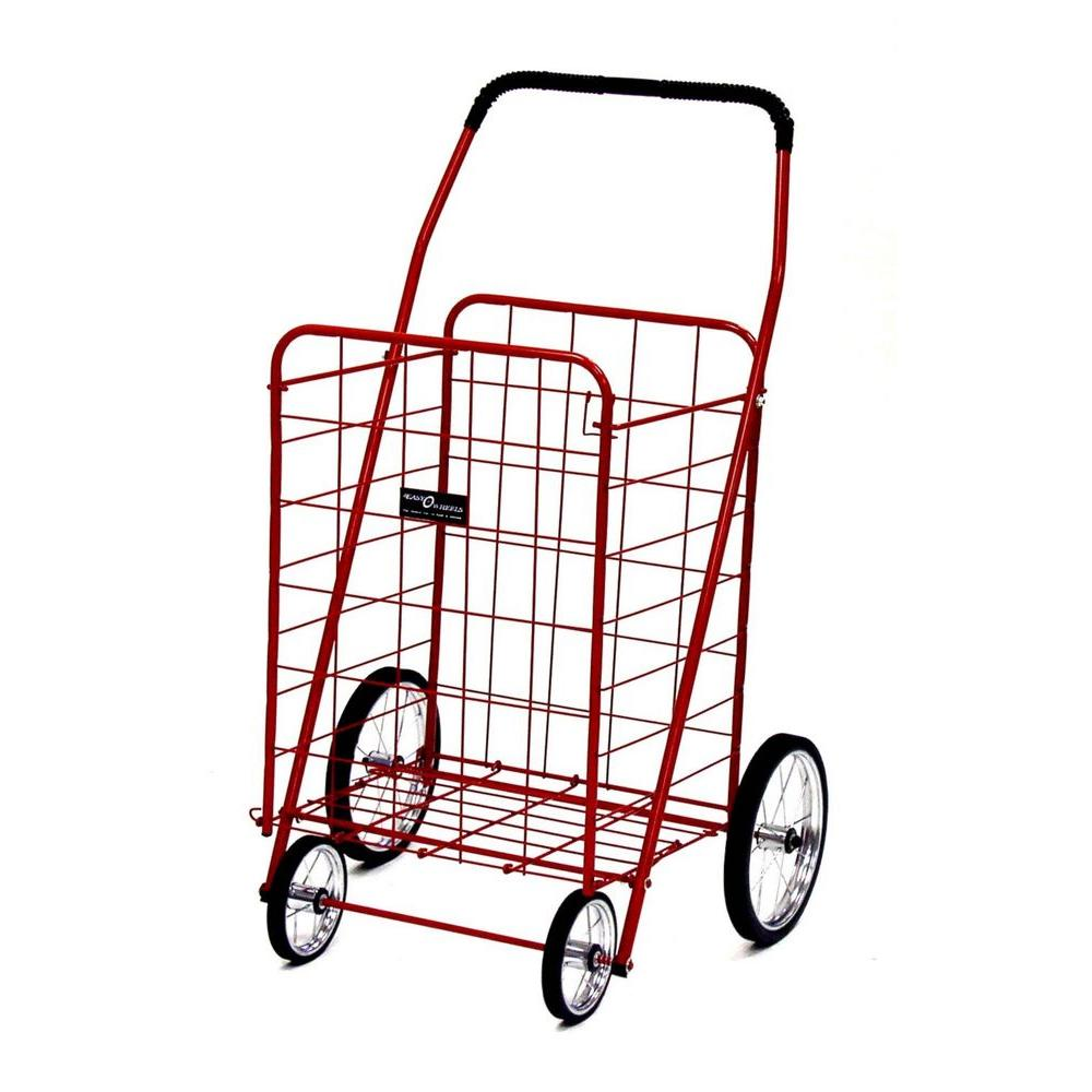 Easy Wheels Jumbo Shopping Cart in Red The Easy Wheels Jumbo Shopping Cart has been the industry's premier cart with industrial strength for home use. When lying down, with the cart folded, the highest measurement is the wheels with a 9.75 in. Dia giving an incredible amount of convenience in a compact size. It comes with over 20 years of refinements and reliability.