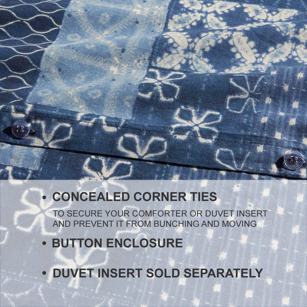 Gutherie 3-Piece Shibori Indigo Duvet Cover Set