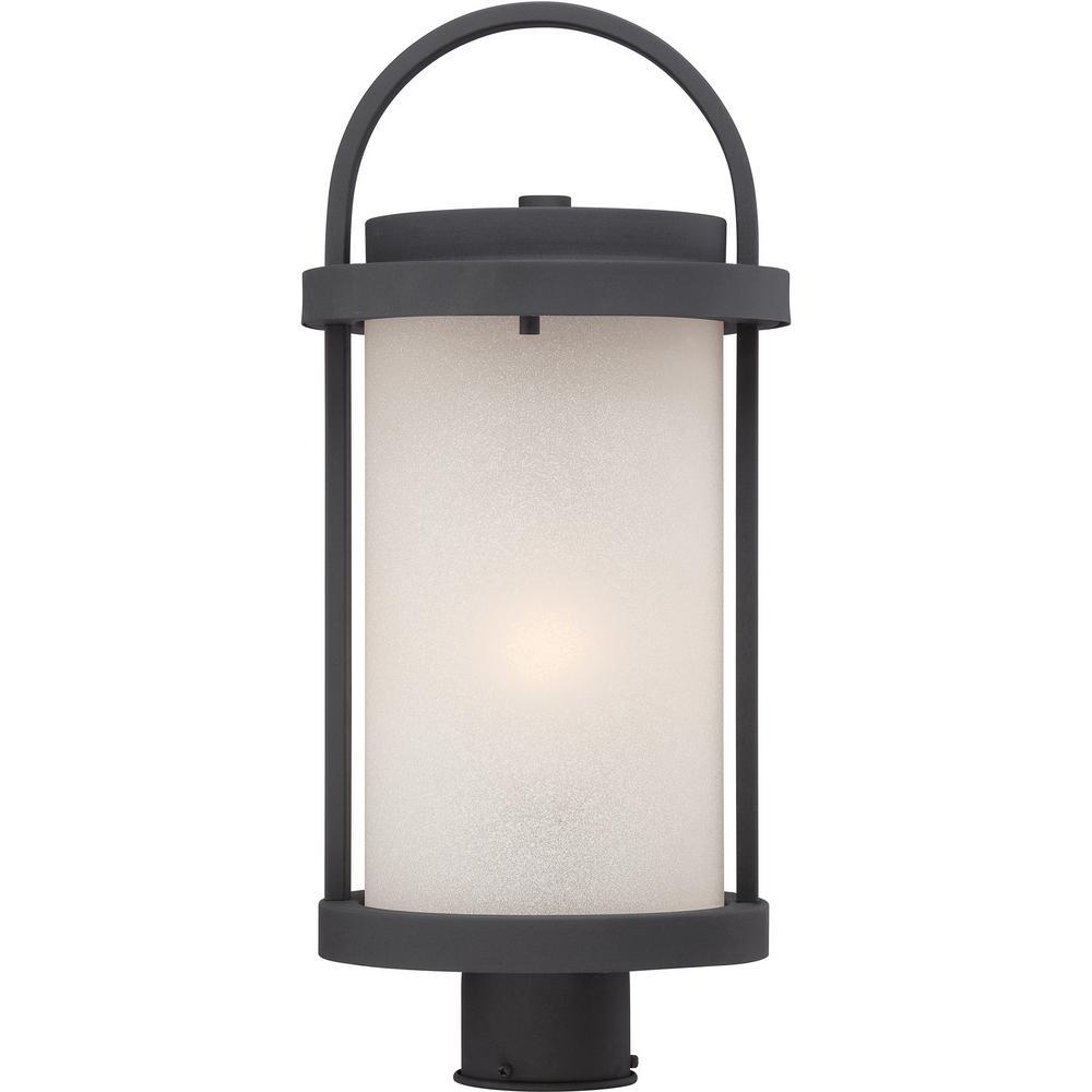 1-Light Outdoor Textured Black Integrated LED Post Light