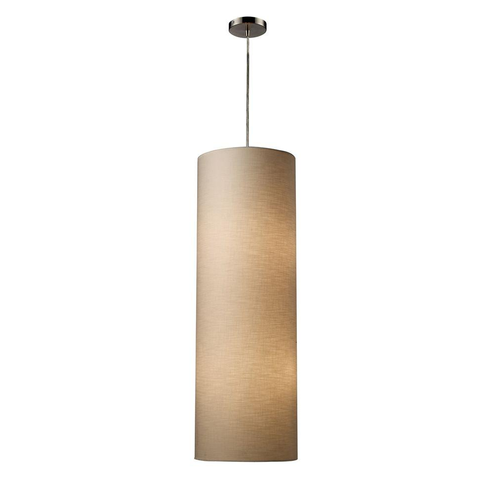 An Lighting Fabric Cylinders 4 Light Satin Nickel Ceiling Pendant