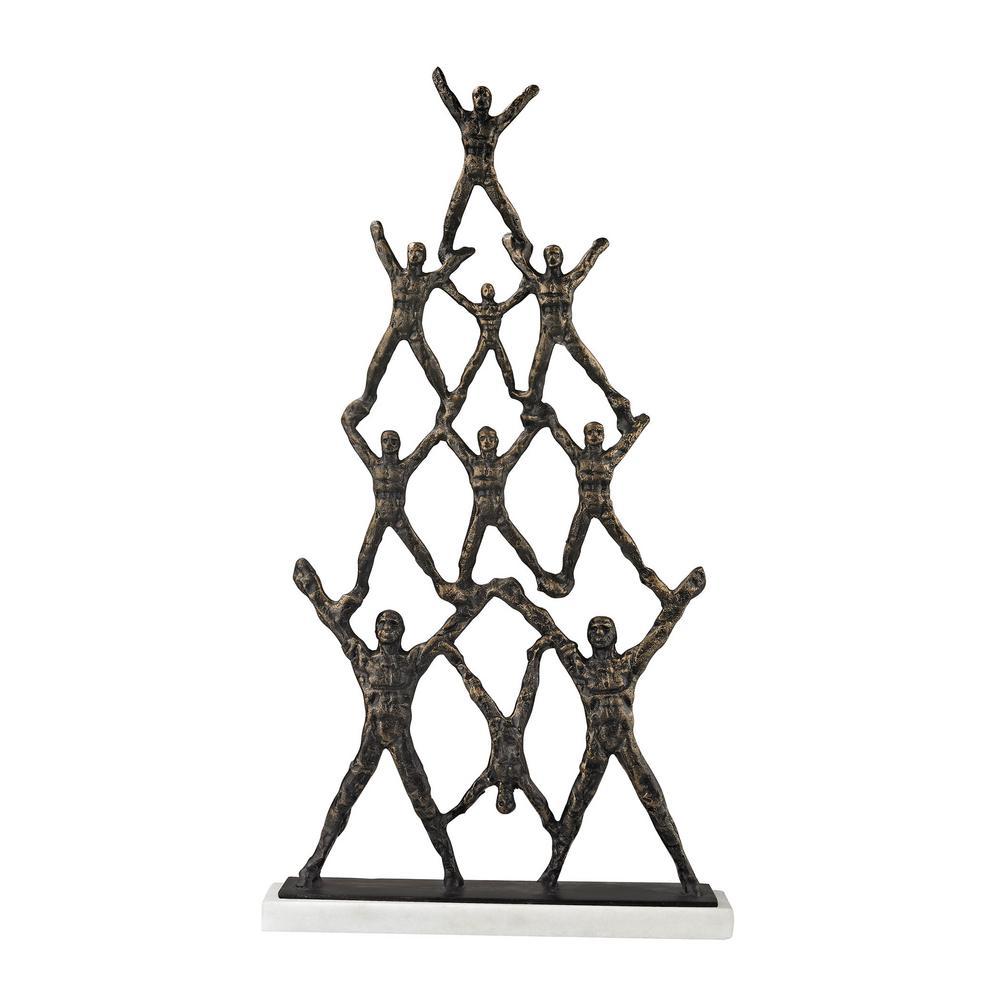 20 in. Troupe Decorative Sculpture in Bronze and White