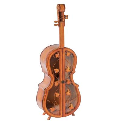 Brown 4.5 Feet Tall Violin Shaped Cabinet With 2-Shelf and Acrylic Clear Double Door