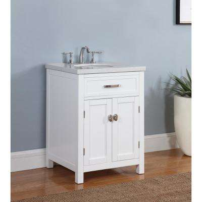 Solana 23 in. W x 22 in. D Vanity in Arctic White with Marble Vanity Top in Gray and White with White Basin