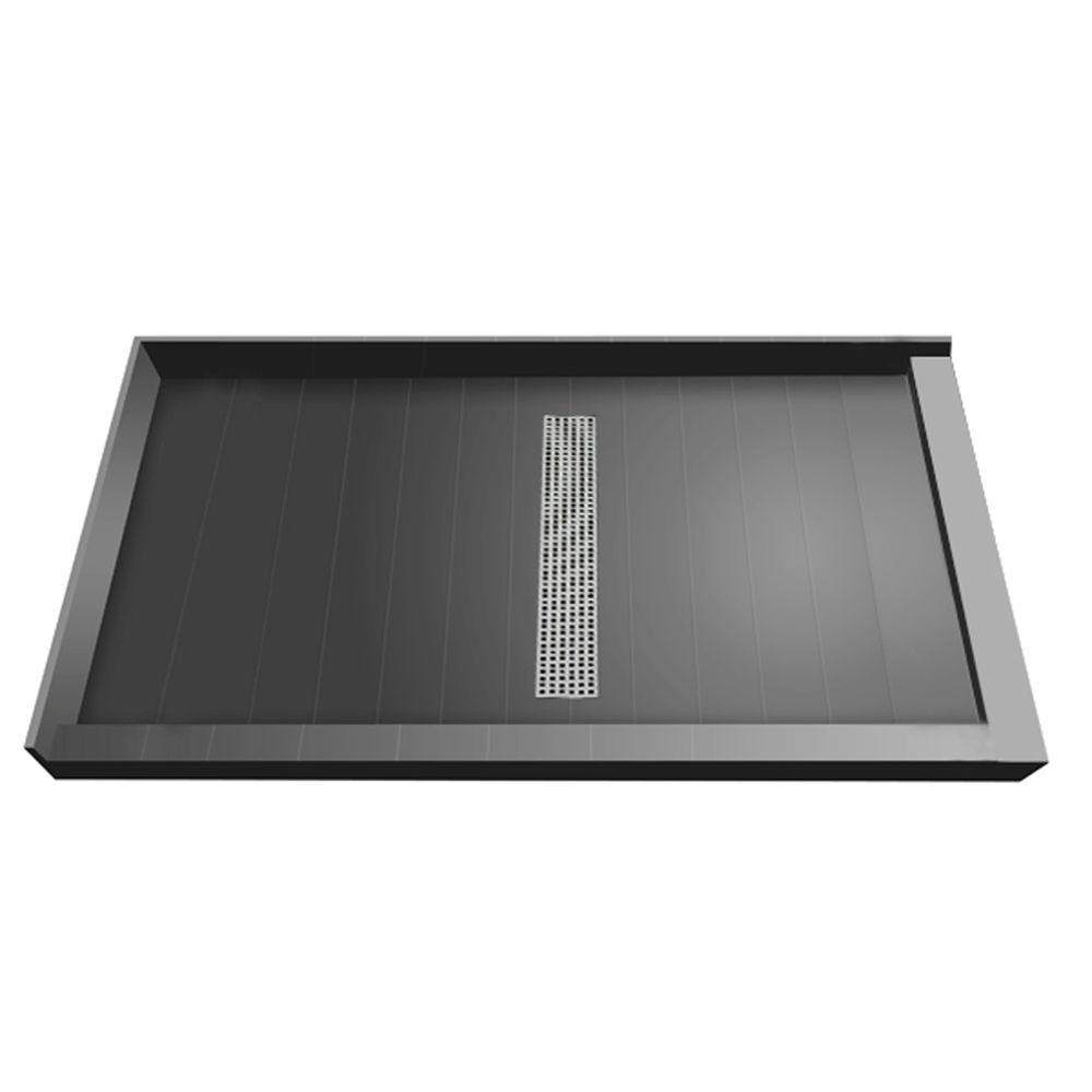 Redi Trench 34 in. x 48 in. Double Threshold Shower Base with Center Drain and Polished Chrome Trench Grate