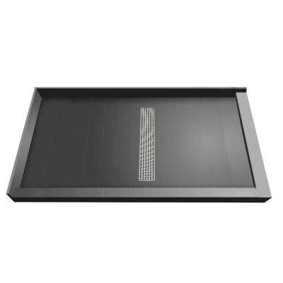 42 in. x 60 in. Double Threshold Shower Base with Center Drain and Brushed Nickel Trench Grate