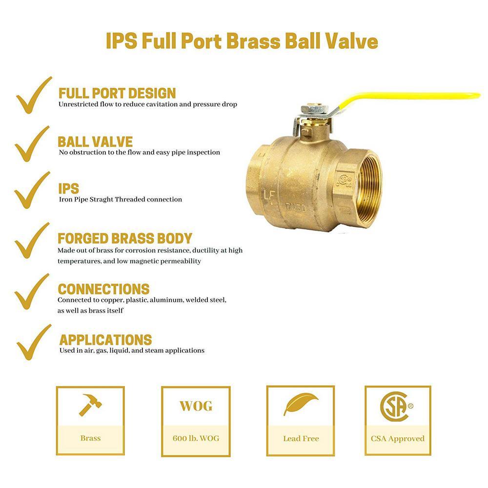 "2/"" Full Port Brass Press Shut-Off Ball Valve Lead Free 250PSI WOG SS Ball"