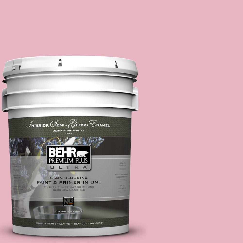 5-gal. #M140-3 Premium Pink Semi-Gloss Enamel Interior Paint