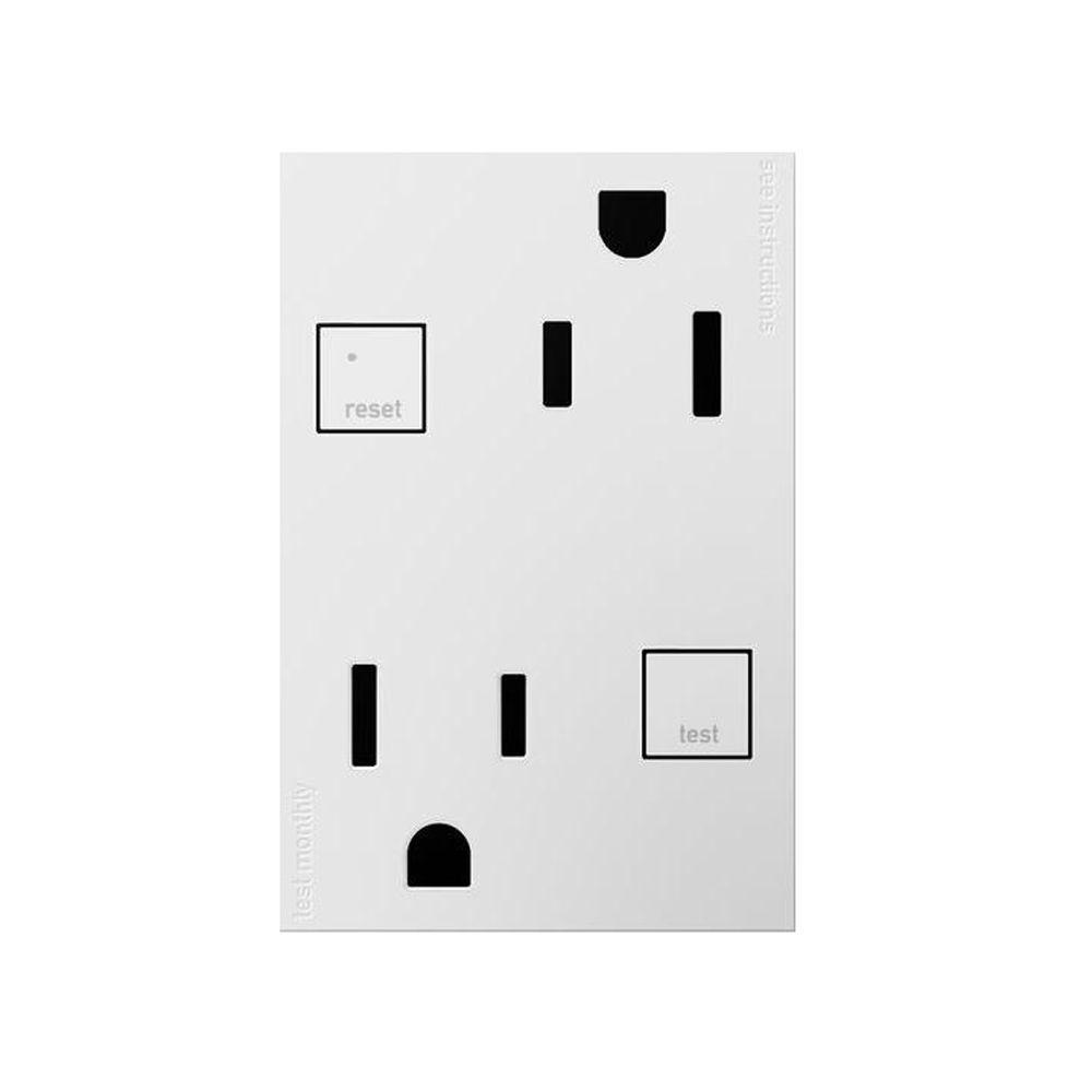 Legrand adorne 15 Amp Tamper Resistant Duplex Outlet with 3 Module GFCI - White