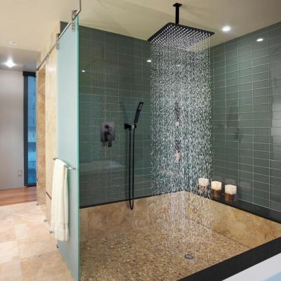 1-Spray Patterns with 2.38 GPM 12 in. Ceiling Mount Dual Shower Heads with Rough-In Valve Body and Trim in Matte Black