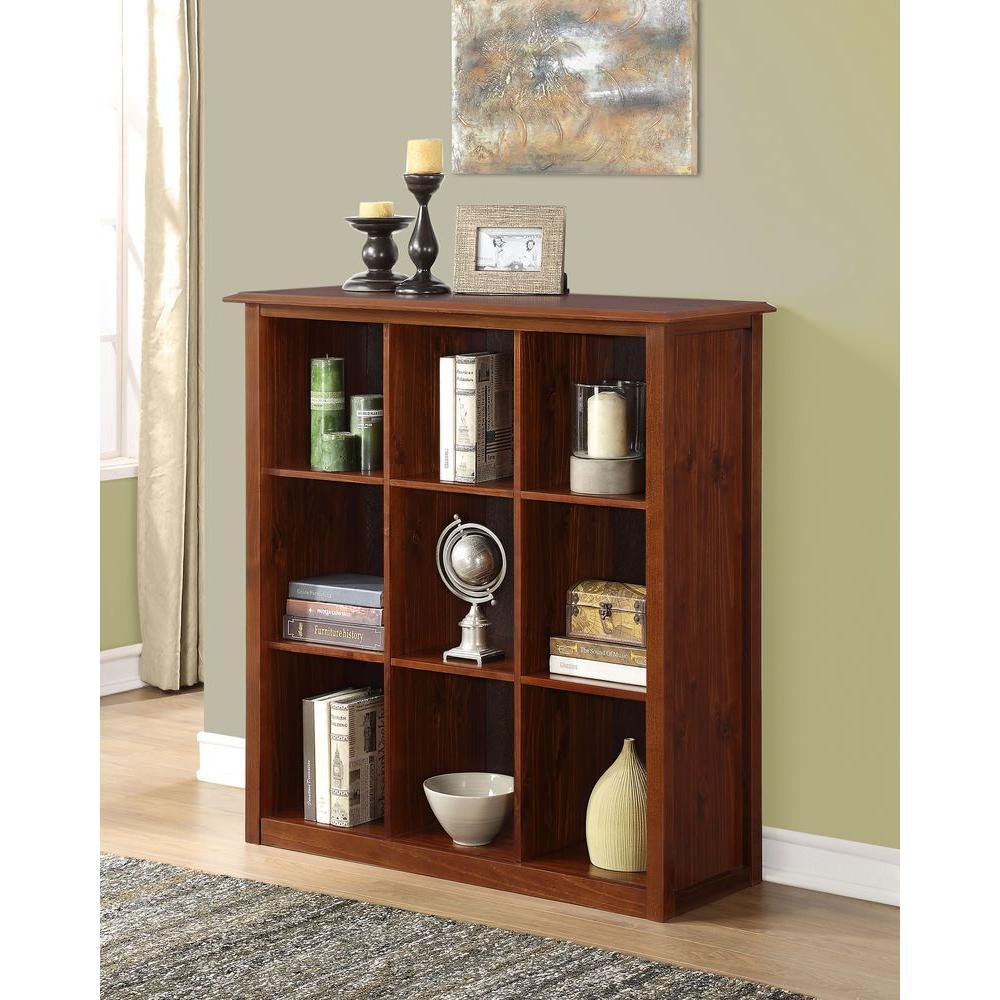 Simpli Home Devon Medium Mahogany Brown Open Bookcase