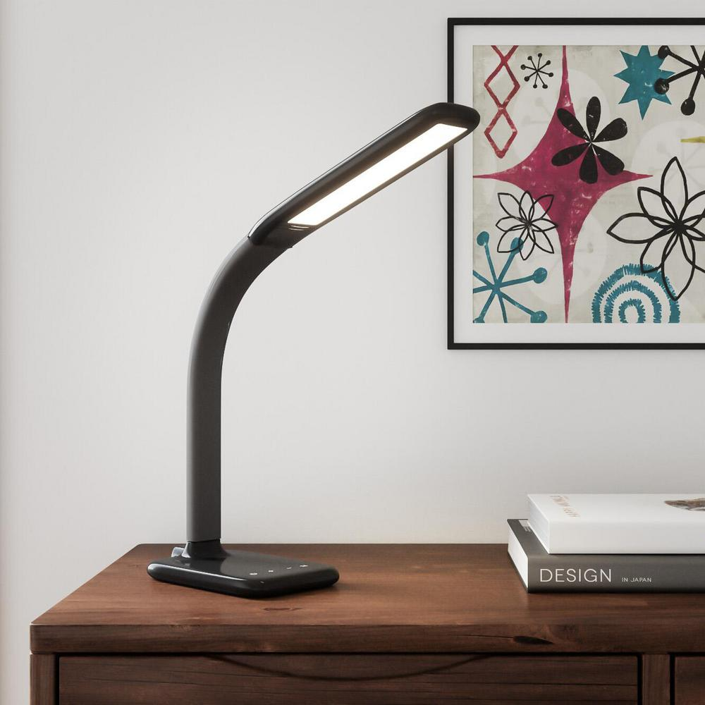 hamptonbay Hampton Bay 24 in. Black LED Desk Lamp with Advanced Control Features