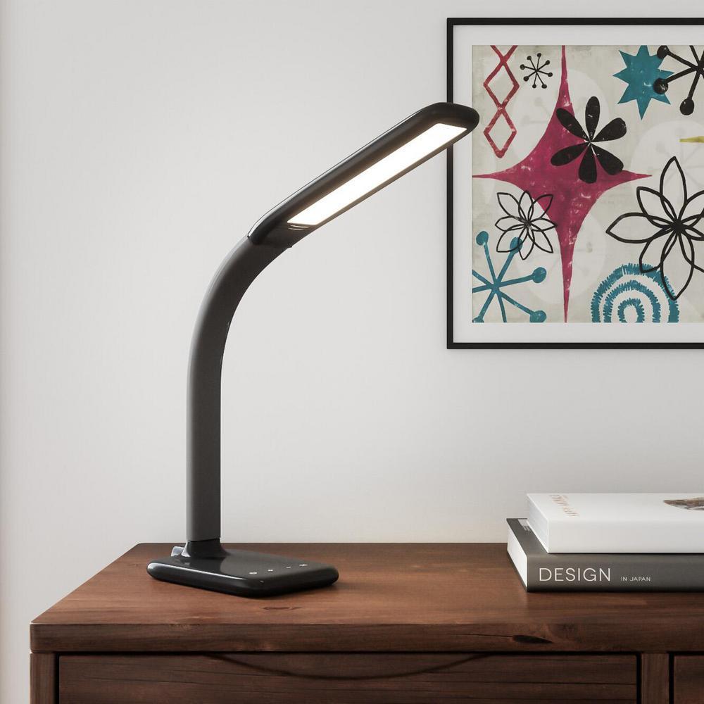 hamptonbay Hampton Bay 24 in. Black LED Desk Lamp with Advanced Control Features