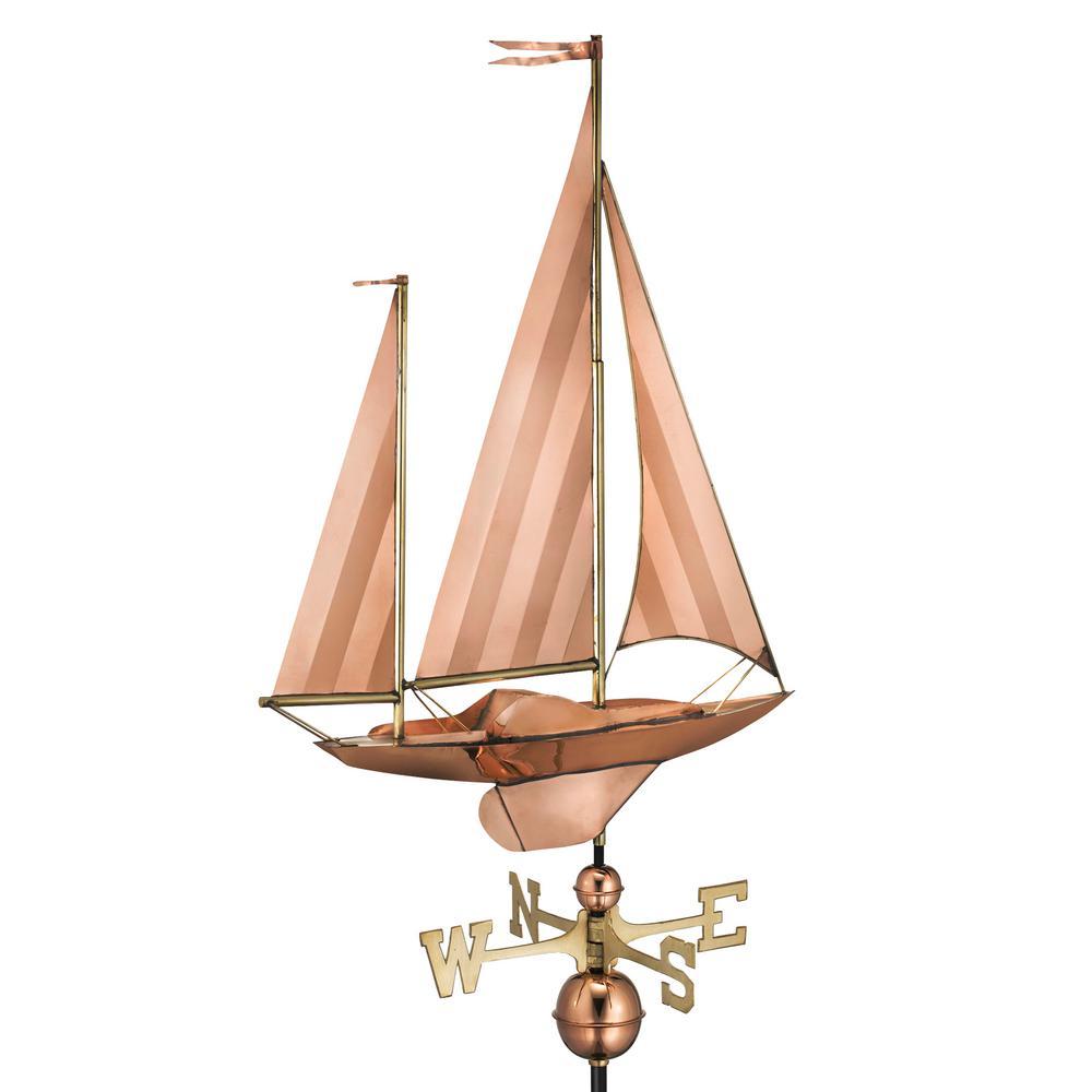 Large Sailboat Weathervane - Pure Copper
