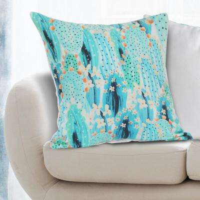 Blooming Cactus 18 in. x 18 in. Blue Decorative Throw Pillow