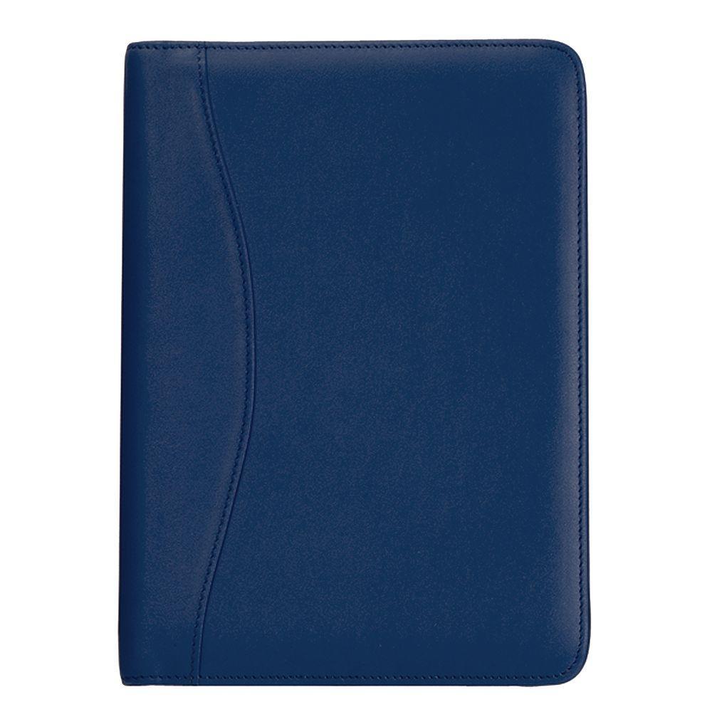 Genuine Leather Compact Writing Portfolio Organizer, Blue