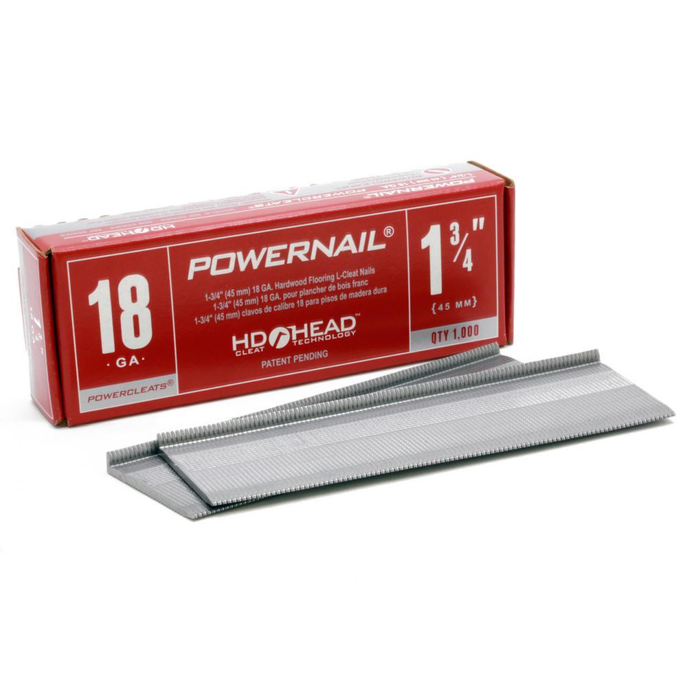 POWERNAIL 1-3/4 in. x 18-Gauge Powercleats Steel Hardwood Flooring Nails (1000-Pack)