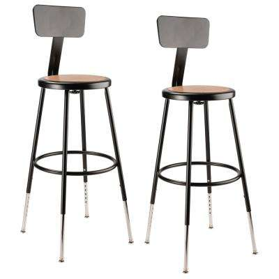 25 in. to 33 in. Black Height Adjustable Heavy Duty Steel Stool with Backrest (2-Pack)