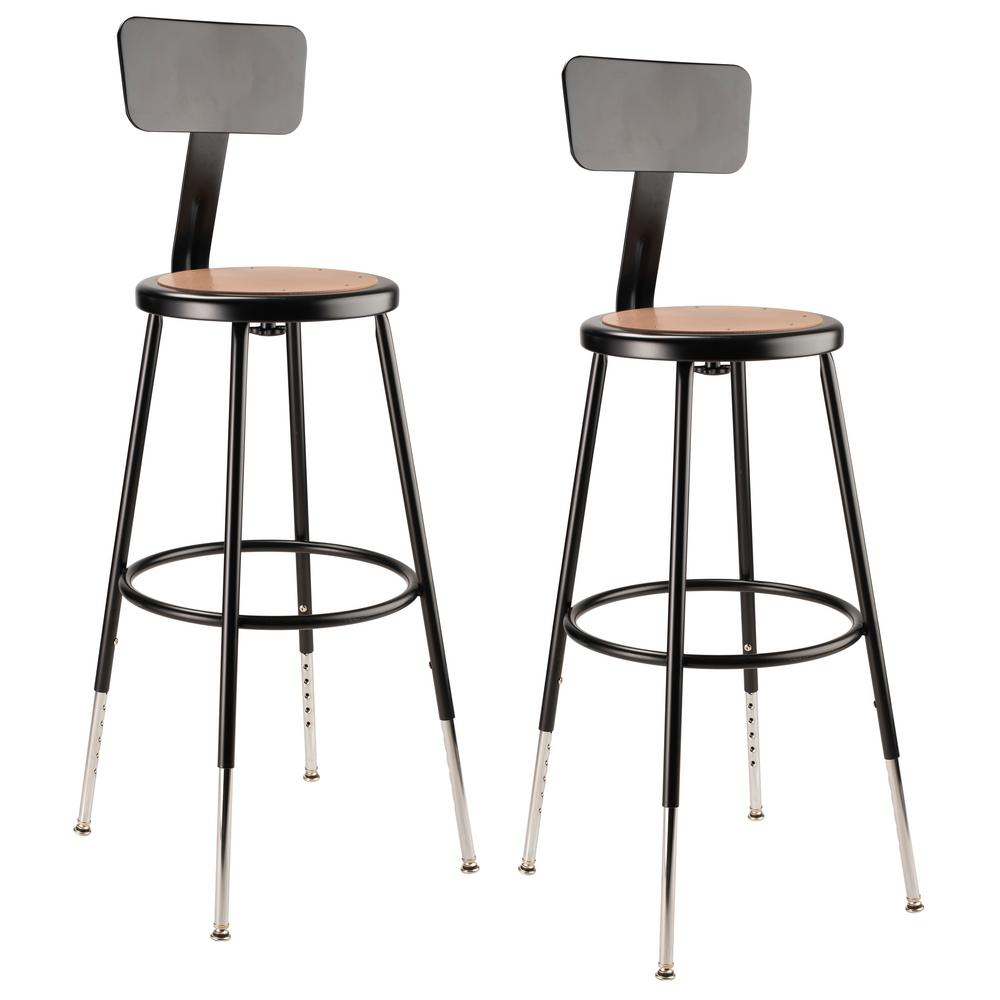 National Public Seating 25 In To 33 In Black Height Adjustable Heavy Duty Steel Stool With Backrest 2 Pack 6224hb 10 2 The Home Depot