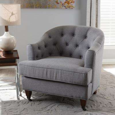 Jilian Light Gray Fabric Upholstered Accent Chair
