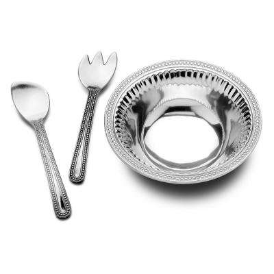 Flutes and Pearls Large 3-Piece Salad Set