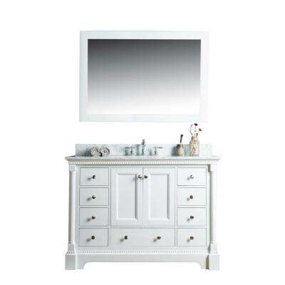 Olivia 48 in. W x 22 in. D Vanity in White with Marble Vanity Top in White with White Basin