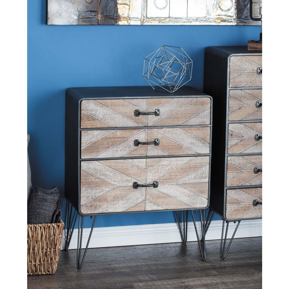New Traditional 3-Drawer Metal and Wood Chest Multi-Colored Trunk