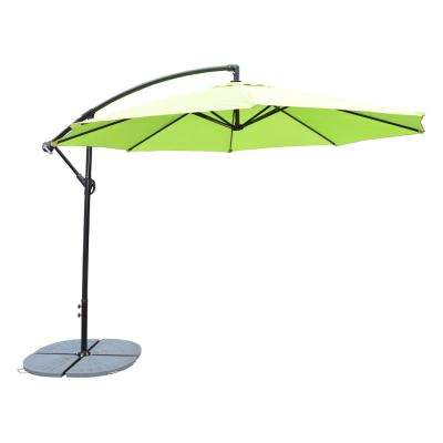Lime Green 10 ft. Cantilever Umbrella with 4 Casted Polyresin Heavy Duty Weights