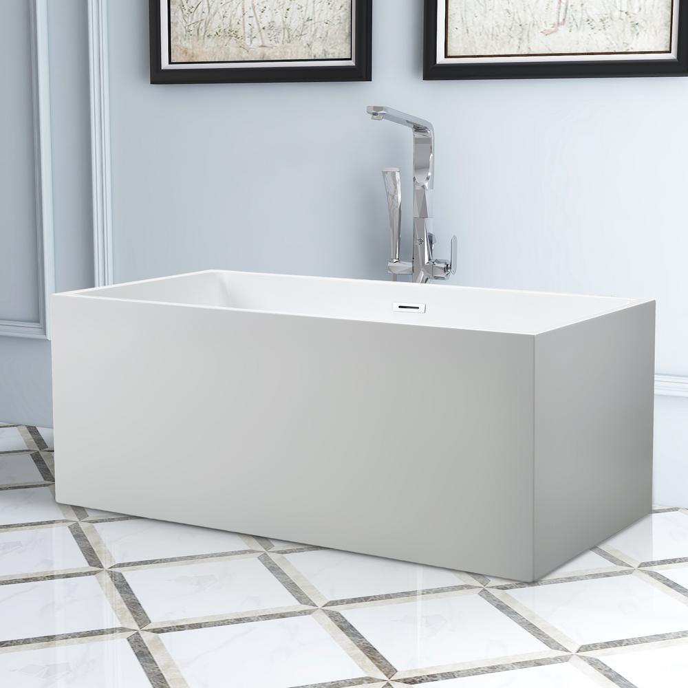 Talence 67 in. Acrylic Flatbottom Freestanding Bathtub in White